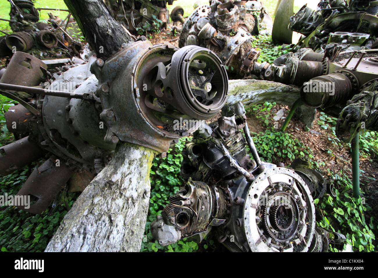 Old aero engines from crashed ww2 aircraft - Stock Image