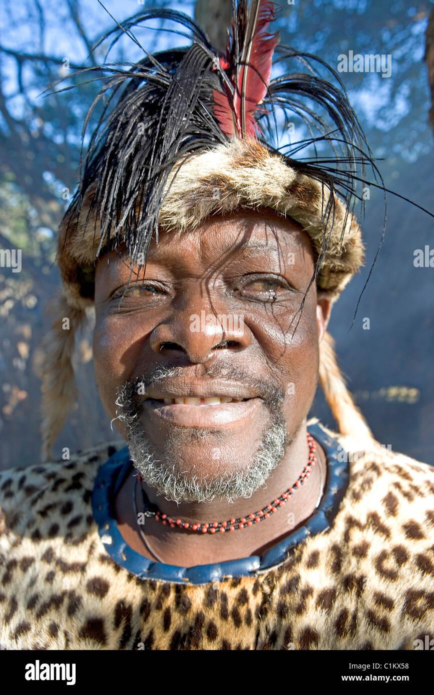 South Africa Kwazulu-Natal province Simunye zulu village where visitors can be accomodated in zulu style the Chief - Stock Image