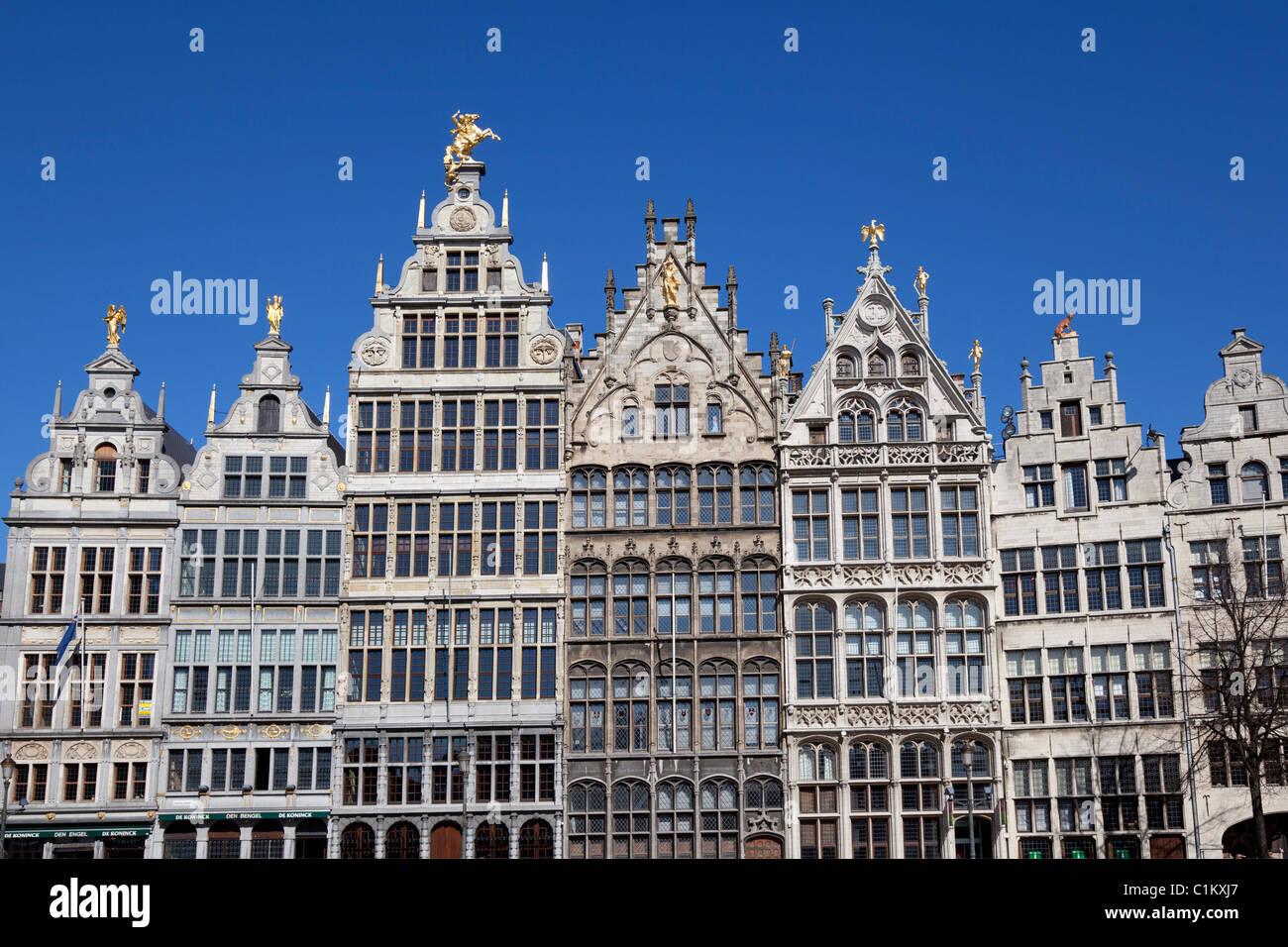Row of Flemish houses on the Grote markt in Antwerp, Belgium - Stock Image