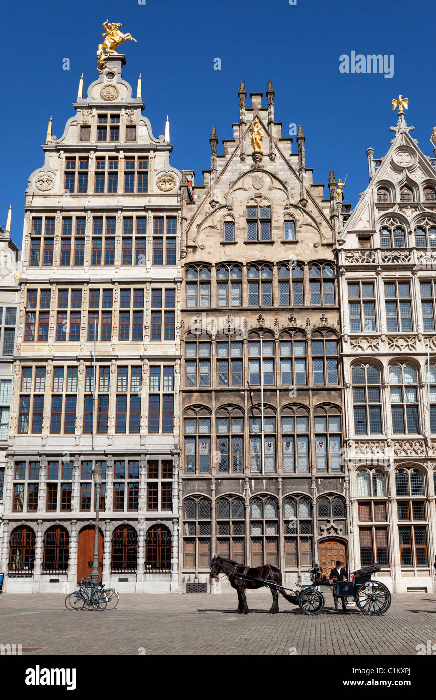Flemish houses on the Grote markt in Antwerp, Belgium Stock Photo