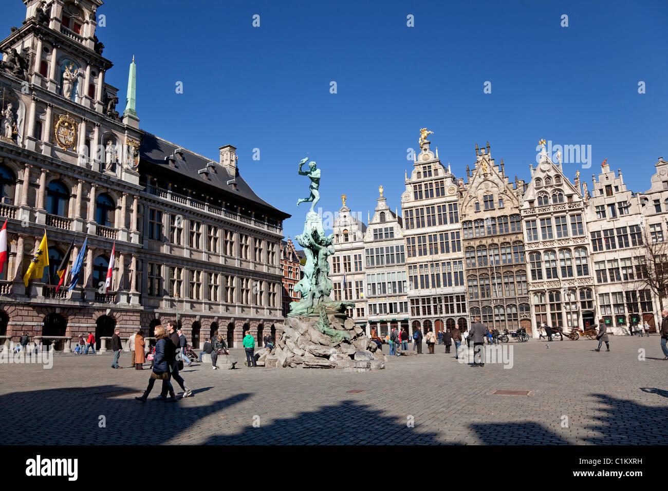 Grote markt in Antwerp, Belgium - Stock Image