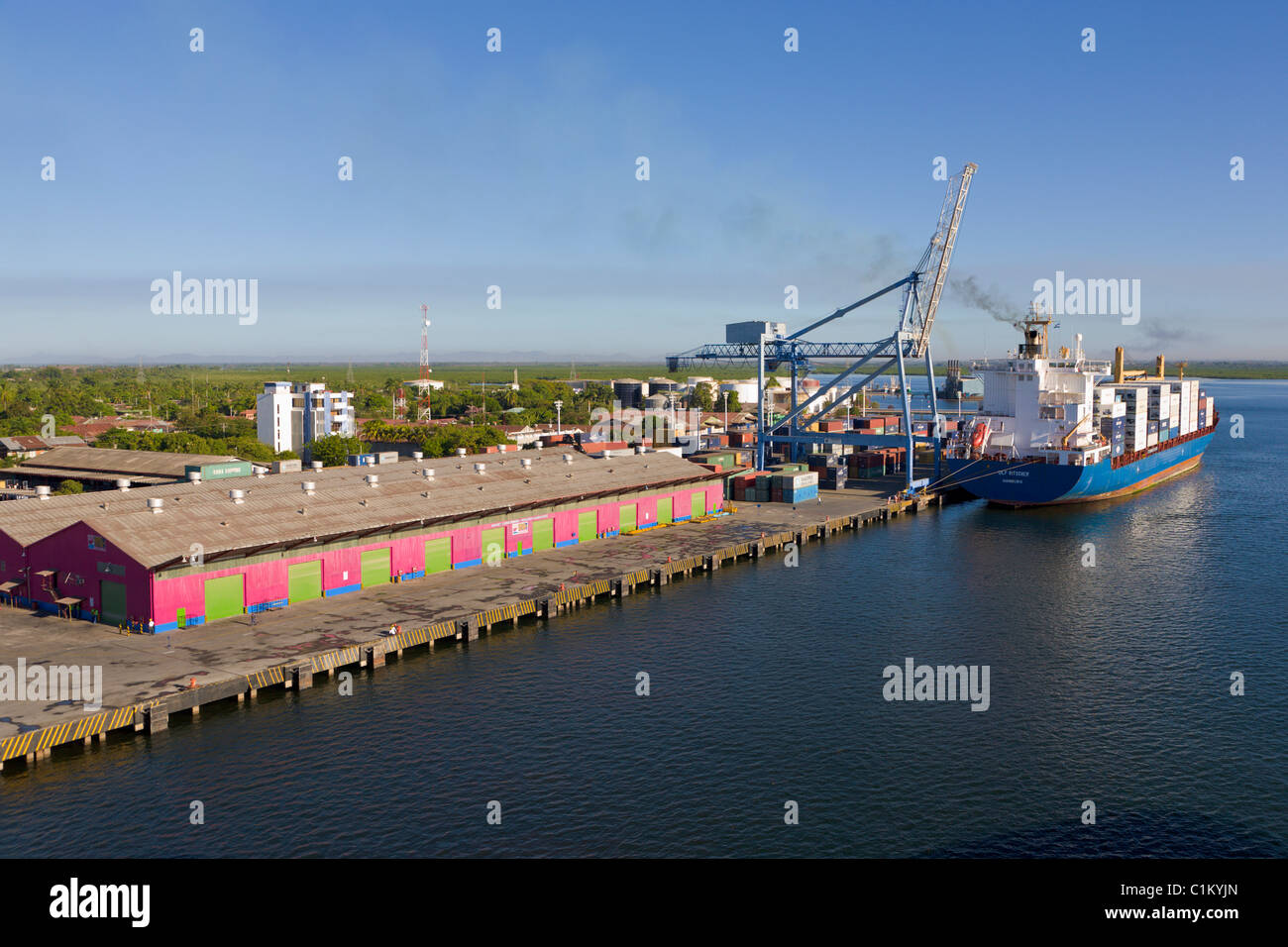 Container ship, Port of Corinto, Nicaragua - Stock Image