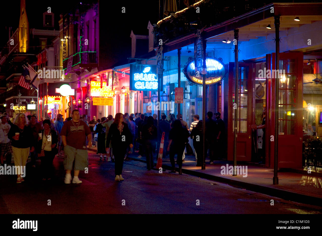 Neon Signs Of Bars And Restaurants Along Bourbon Street In The