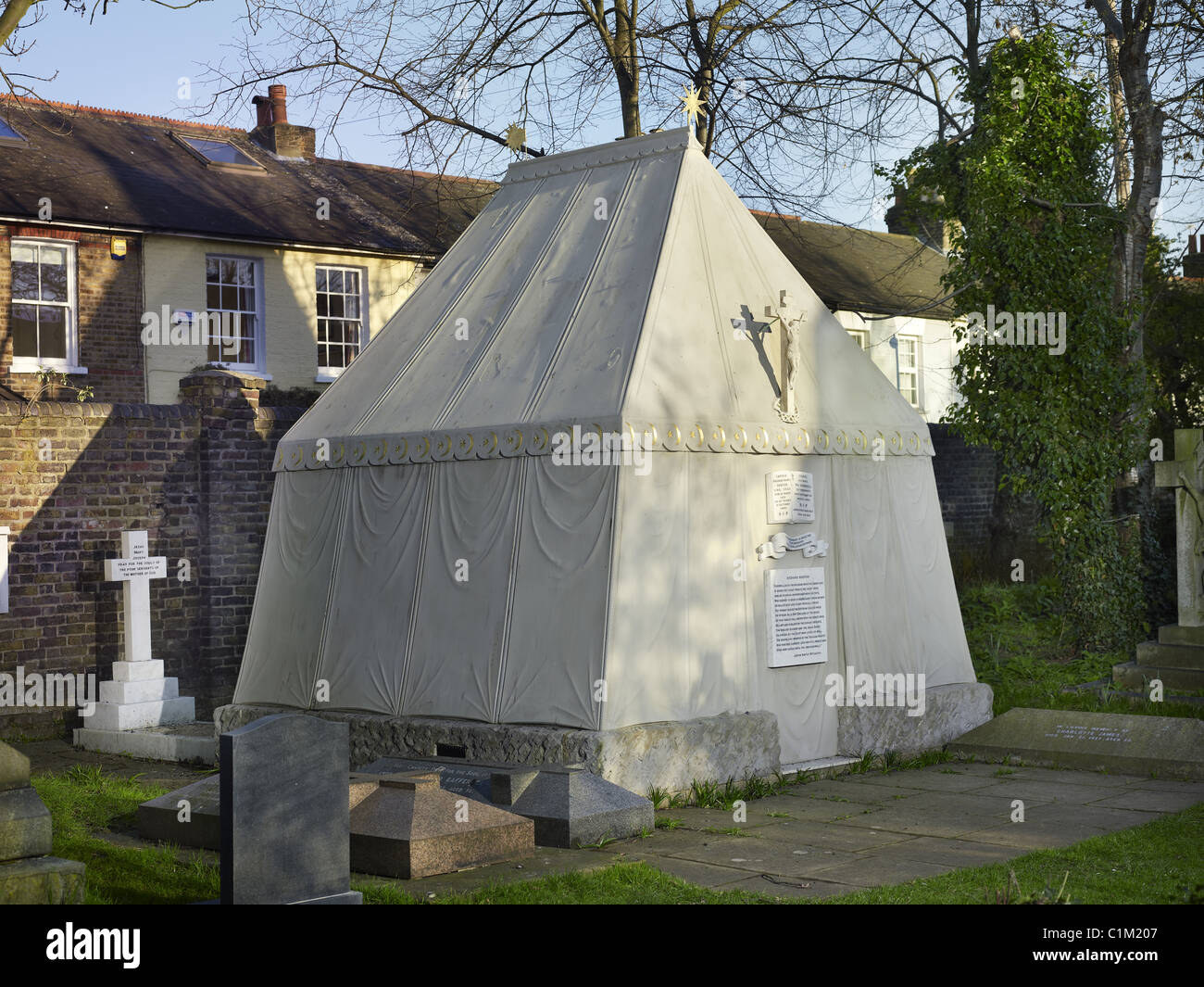 Tomb in the form of an Arab bedouin tent, erected by his widow Isabel of British explorer Sir Richard Burton 1821 - Stock Image