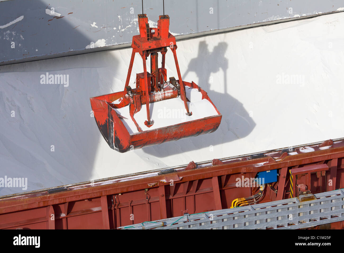 Cargo ship being unloaded at the port of Salaverry, Trujillo, Peru Stock Photo