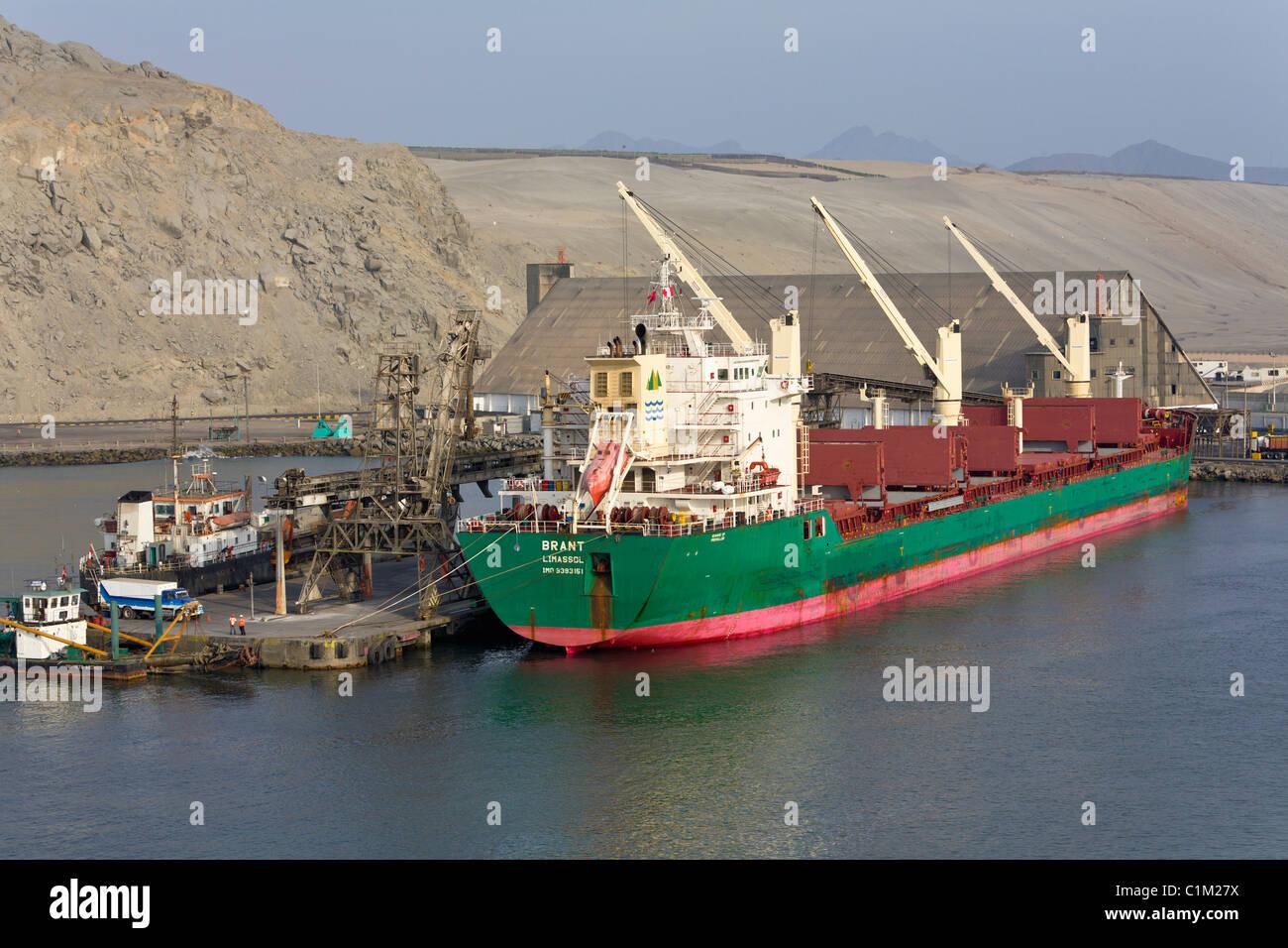 Cargo ship docked at the port of Salaverry, Trujillo, Peru Stock Photo