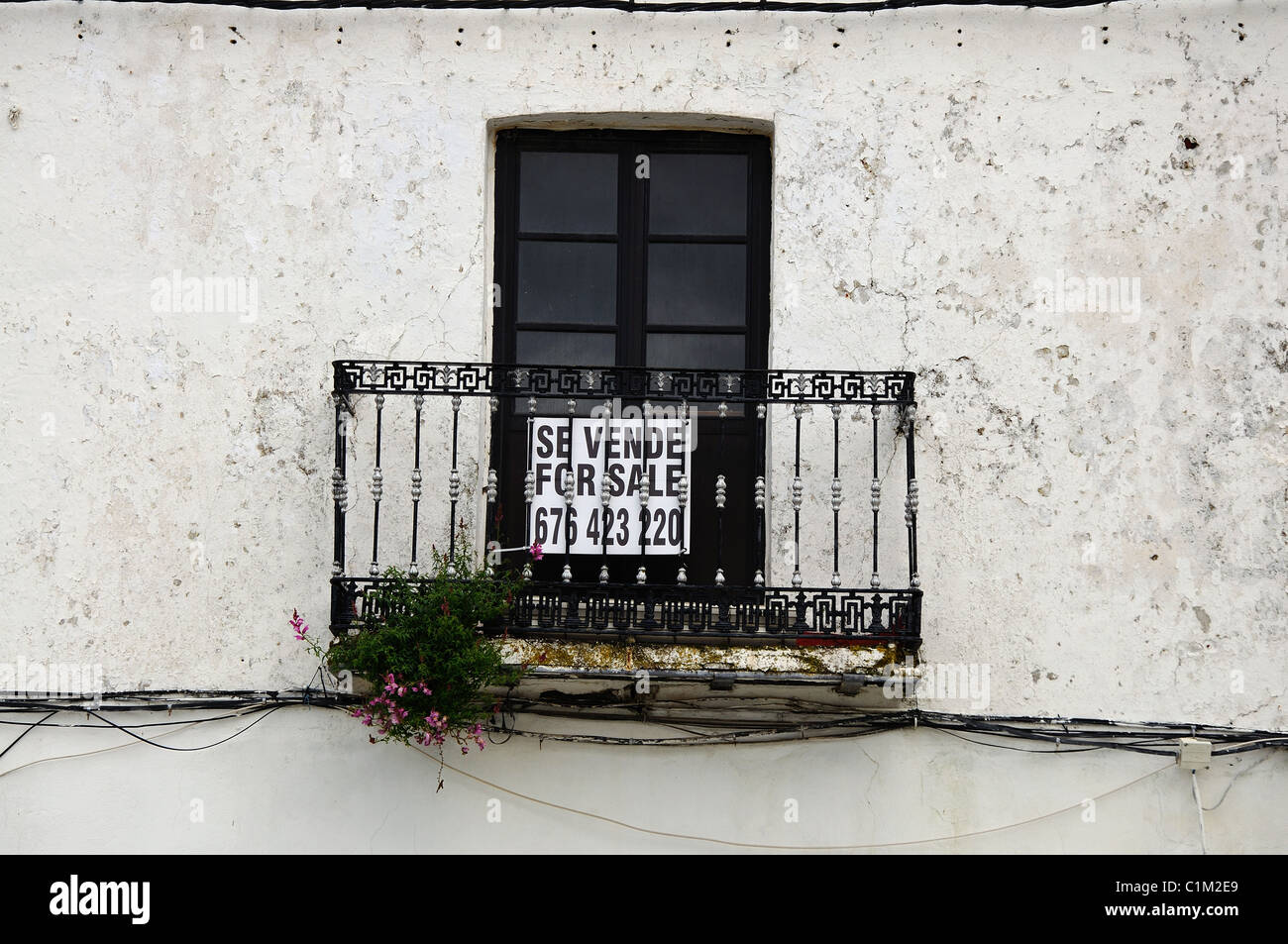 Wrought Iron Balcony And Window With For Sale Sign, Casares, Cadiz  Province, Andalucia