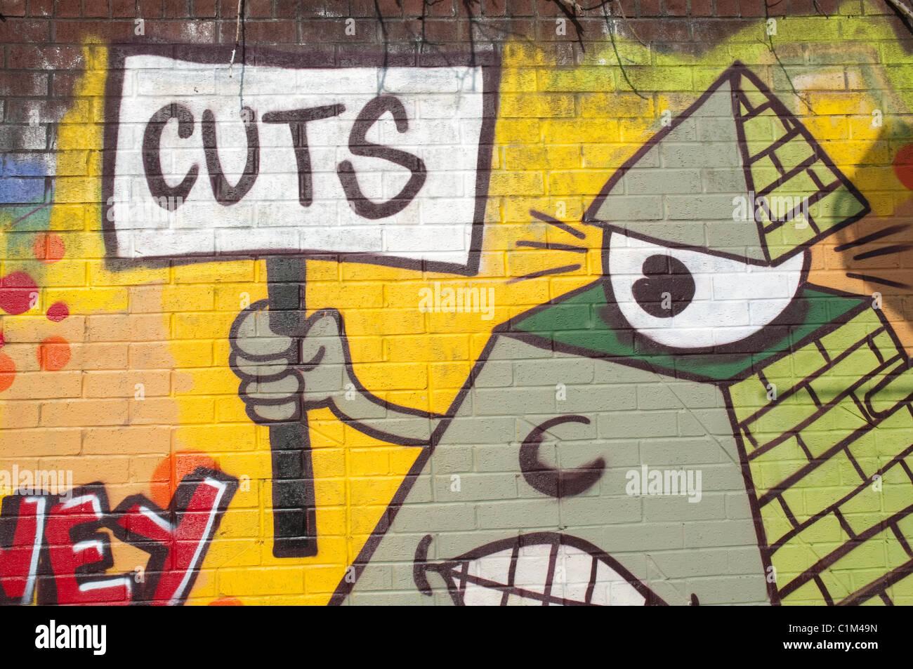 Cuts graffiti. - Stock Image