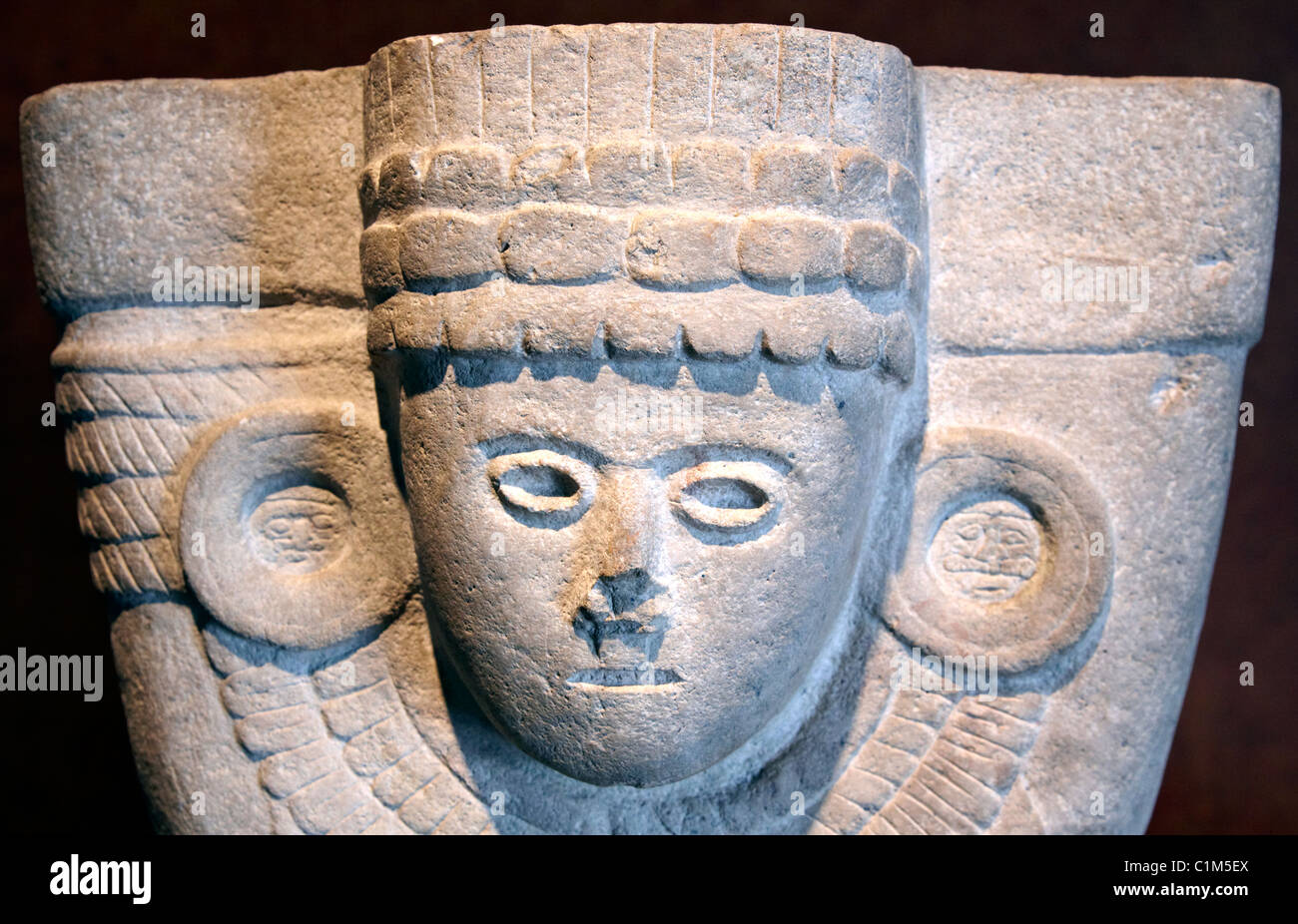 Stone Statue The Anthropological Museum  Mexico City Mexico - Stock Image