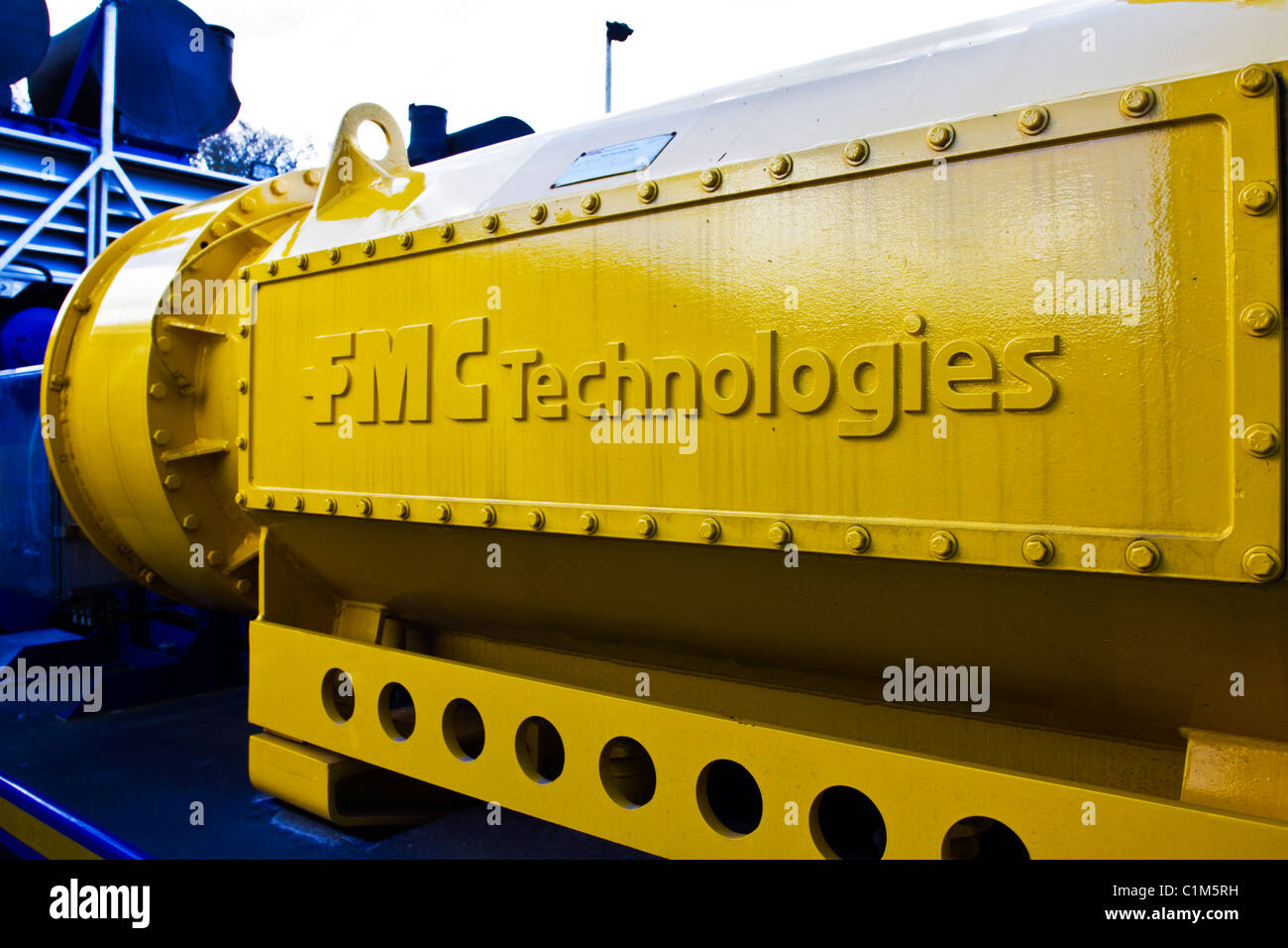 FMC Technologies at Cuadrilla Resources drilling equipment at Shale Gas Drill Site,  Presse Hall Farm, Blackpool, - Stock Image