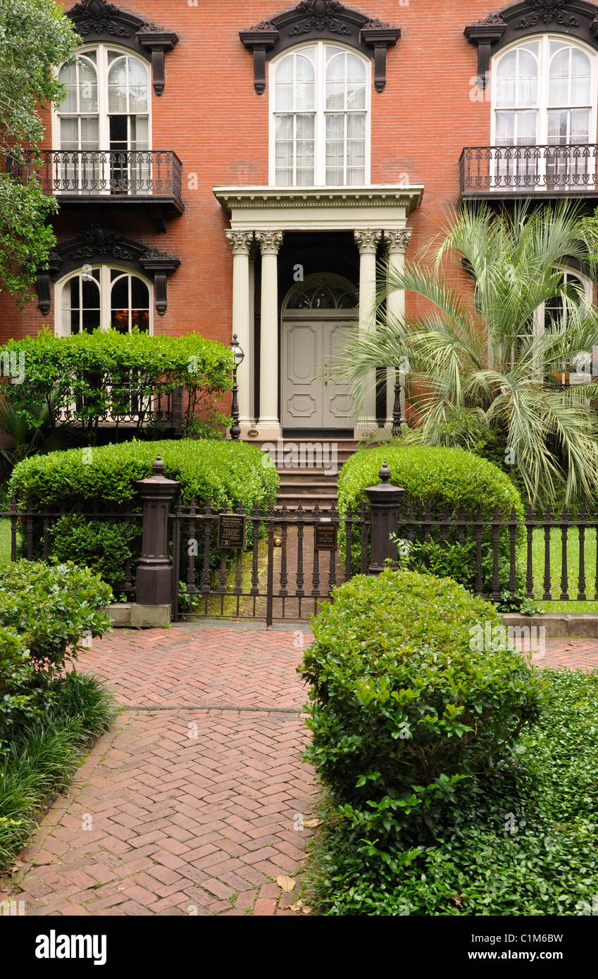 Exterior of an old large historic house in Savannah, Georgia. Stock Photo