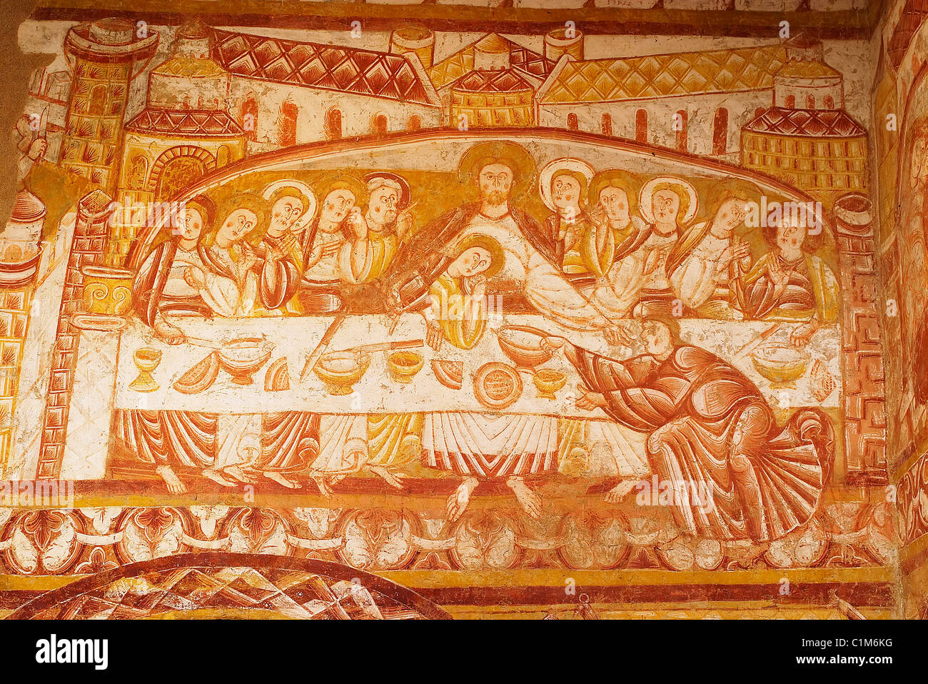 France Indre George Sand's Berry the church of Vic (XIIe century) remarkable frescos representing biblical scenes - Stock Image