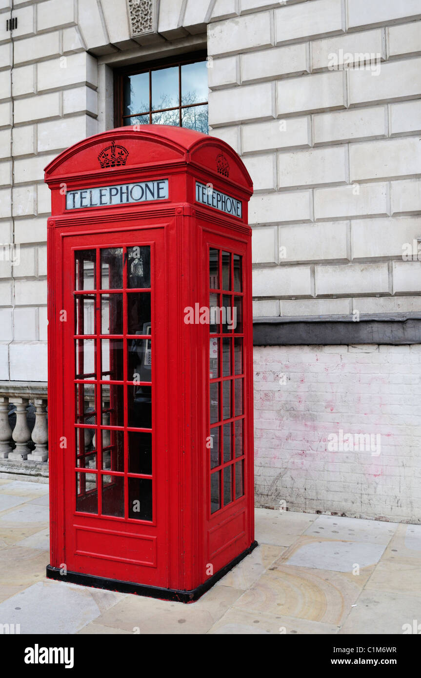 A Red Telephone Box, Great George Street, London, England, UK - Stock Image