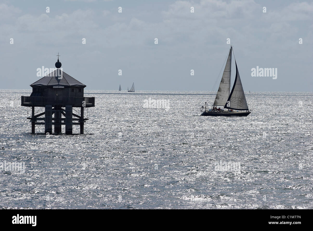 France, Charente Maritime, La Rochelle, the Bout du Monde (end of the world) lighthouse - Stock Image