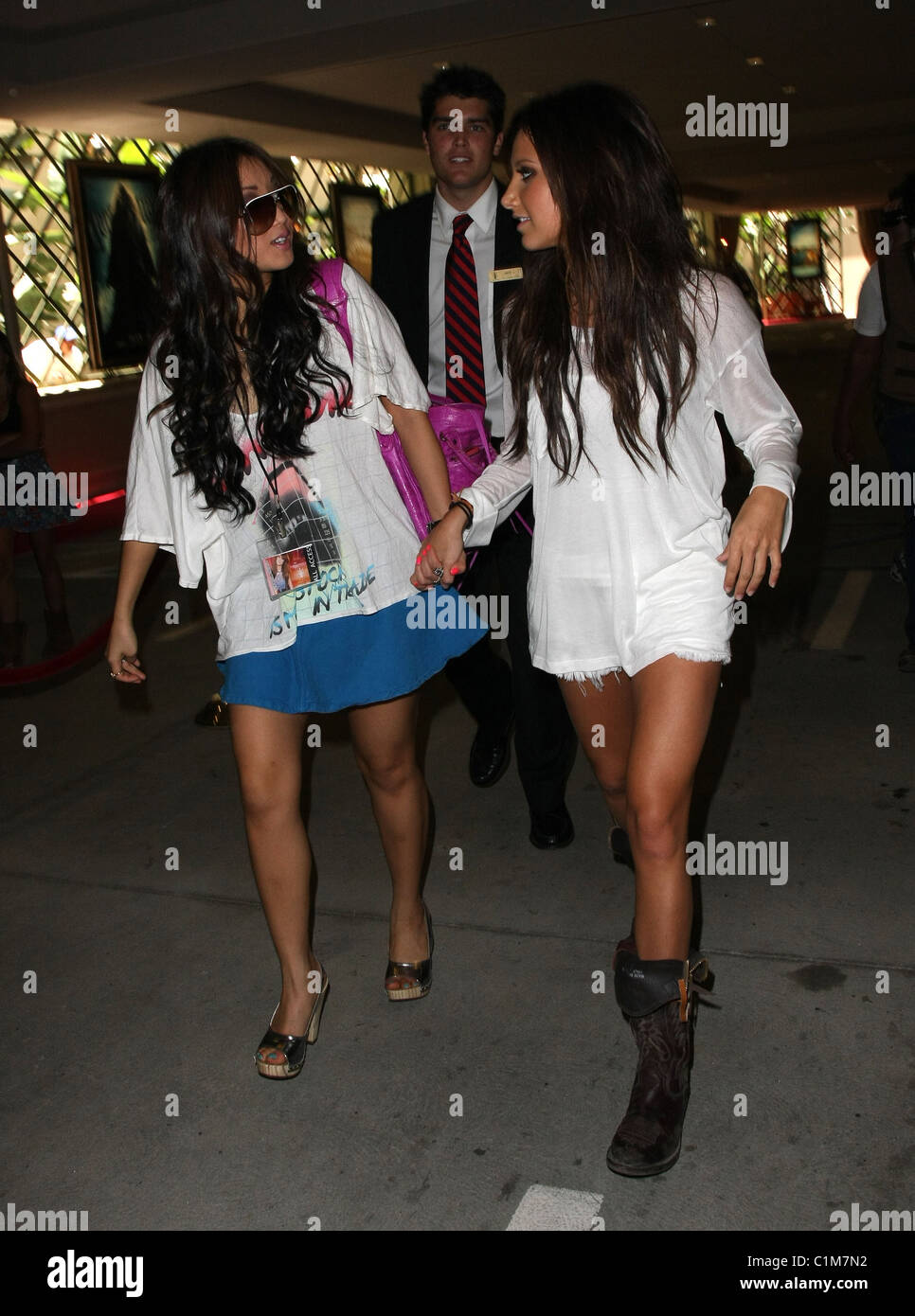 Ashley Tisdale And Brenda Song Leave The Grove After Giving A Stock