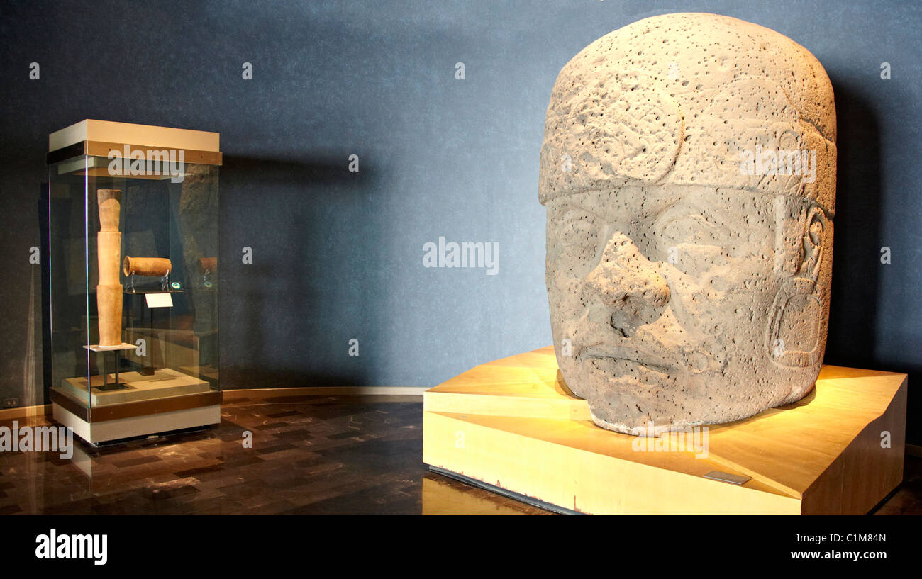 Giant Olmec Head The Anthropological Museum  Mexico City Mexico - Stock Image