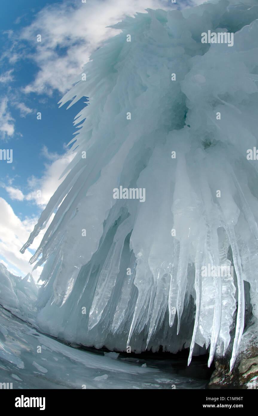 Ice cave, Olkhon island, Baikal lake, Siberia, Russia - Stock Image