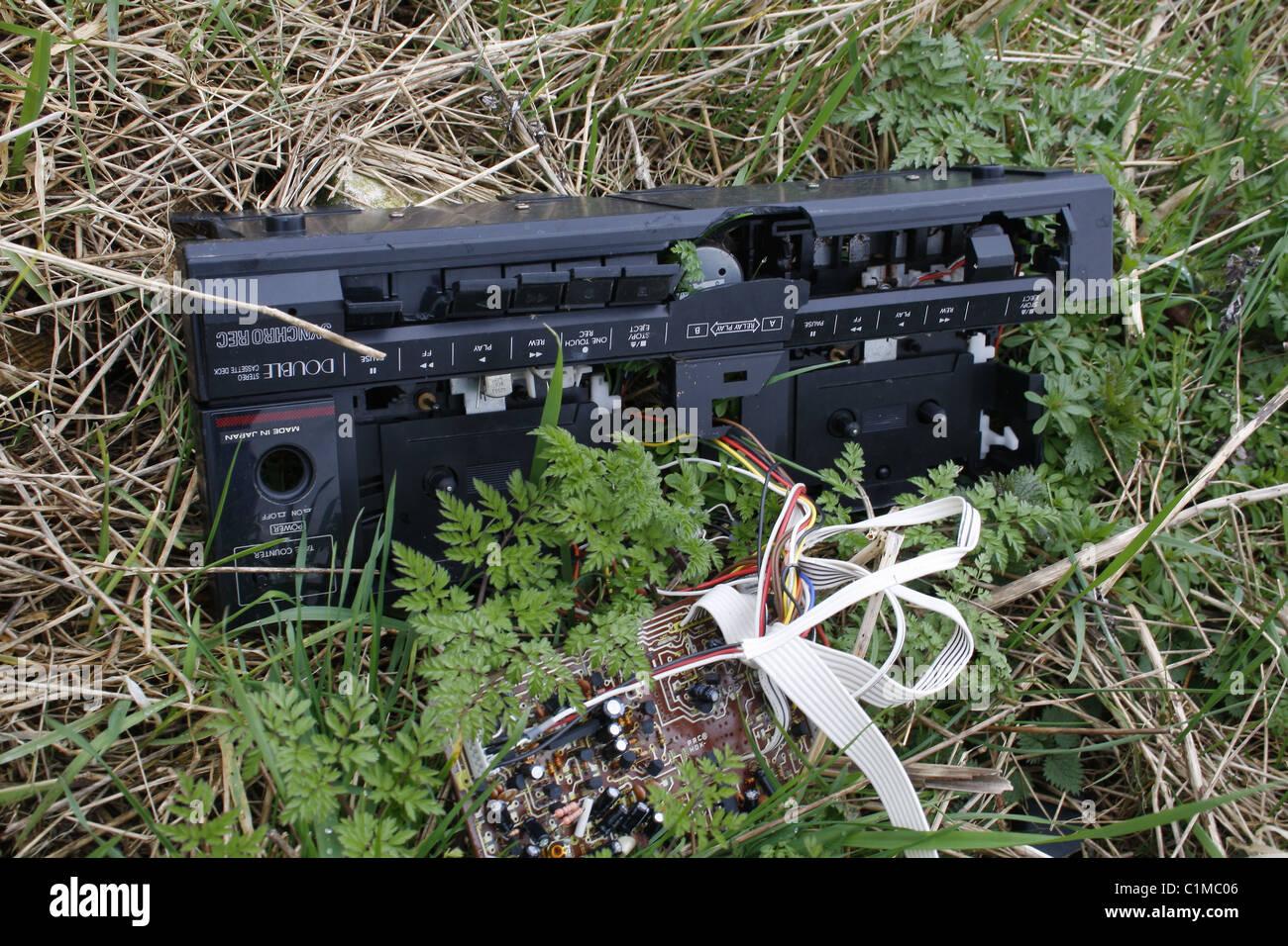 broken stereo cassette player - Stock Image