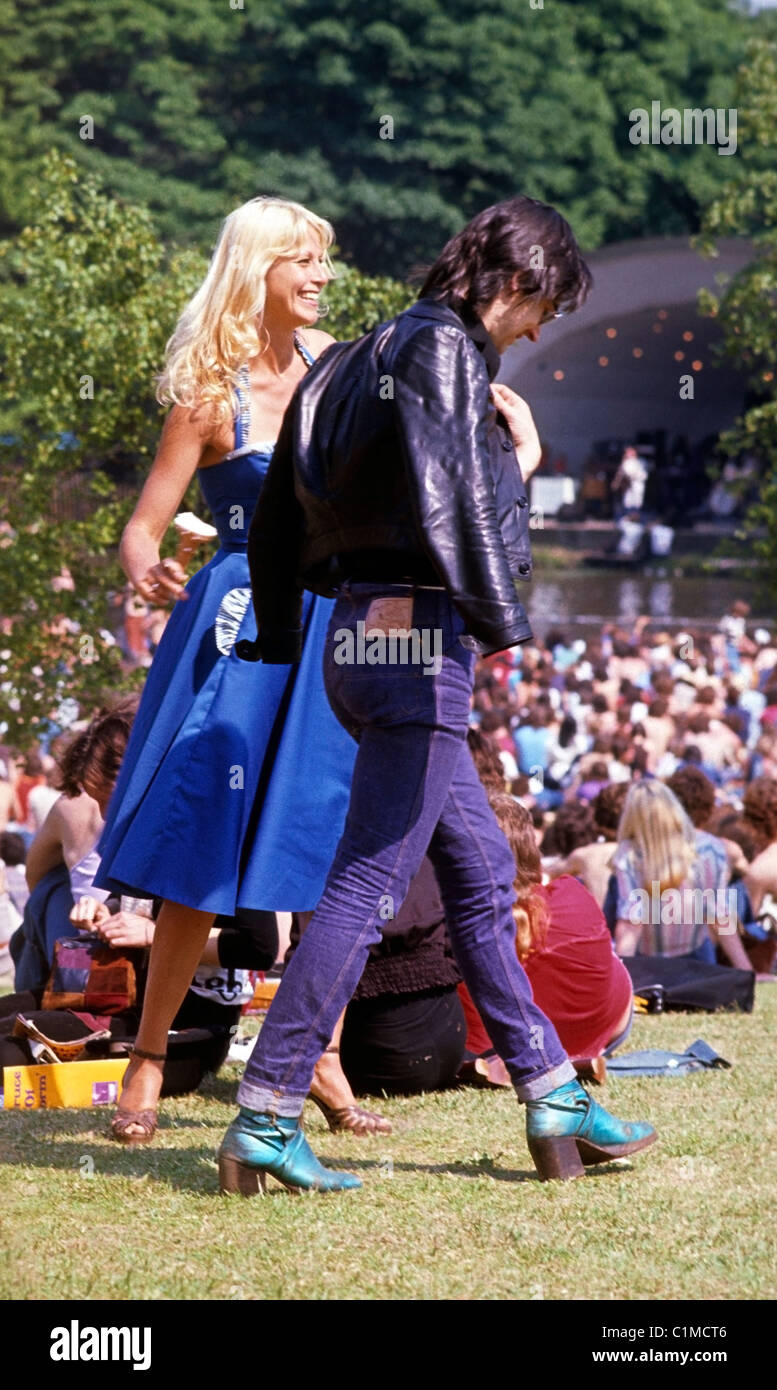 A glamorous young retro couple at a Roxy Music Garden Party Festival Crystal Palace South London England UK 29 July - Stock Image