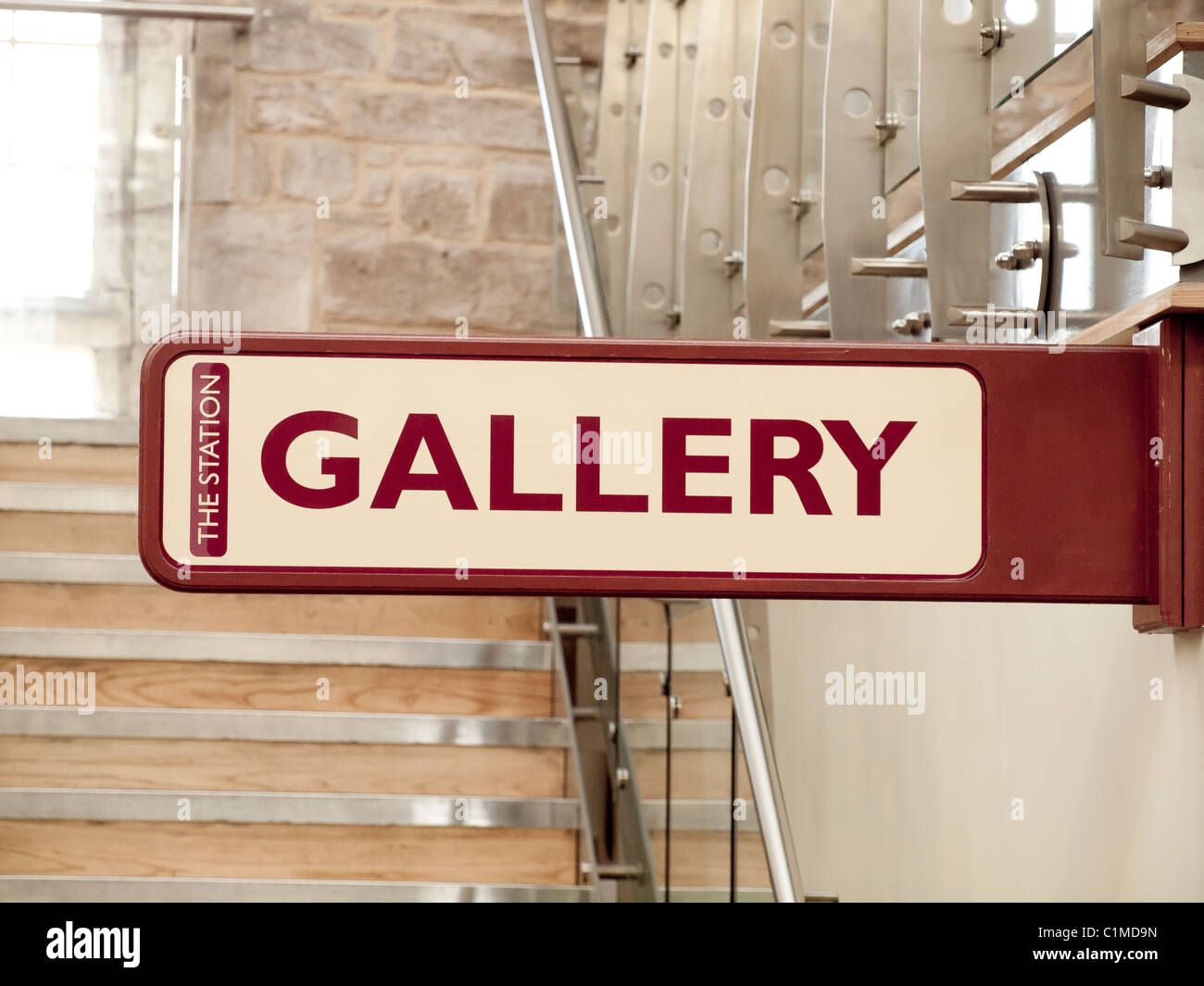 Gallery Sign at The Station a former railway train station at Richmond North Yorkshire now a busy arts centre  cinema - Stock Image