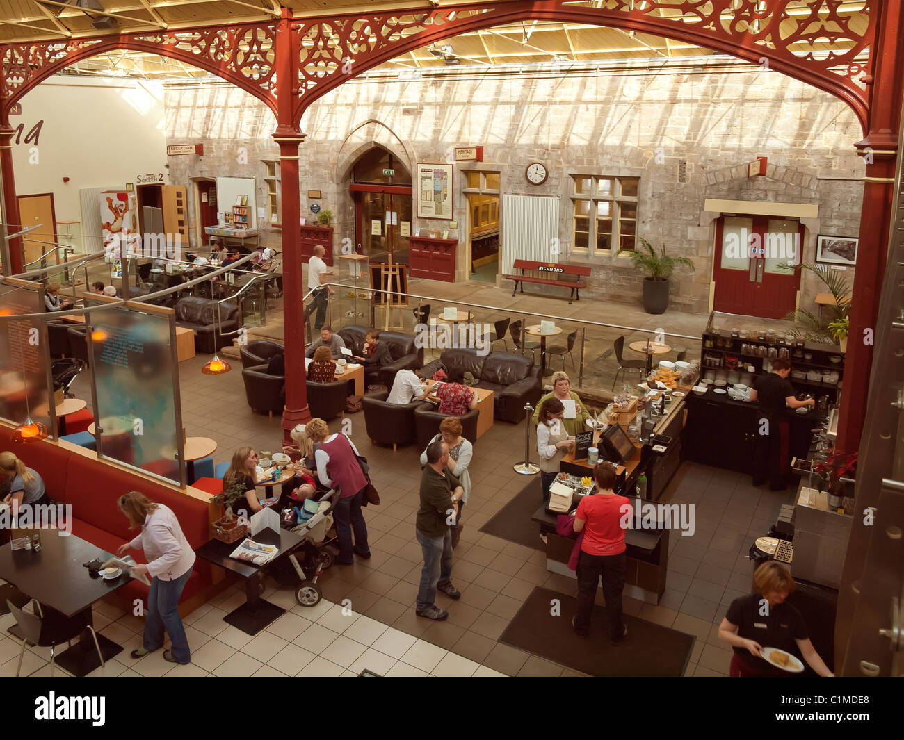 The Station a former railway train station at Richmond North Yorkshire now a busy arts centre gallery cinema and - Stock Image