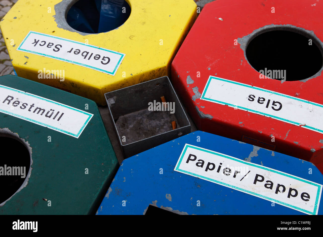 German bin refuse for waste separation - Stock Image
