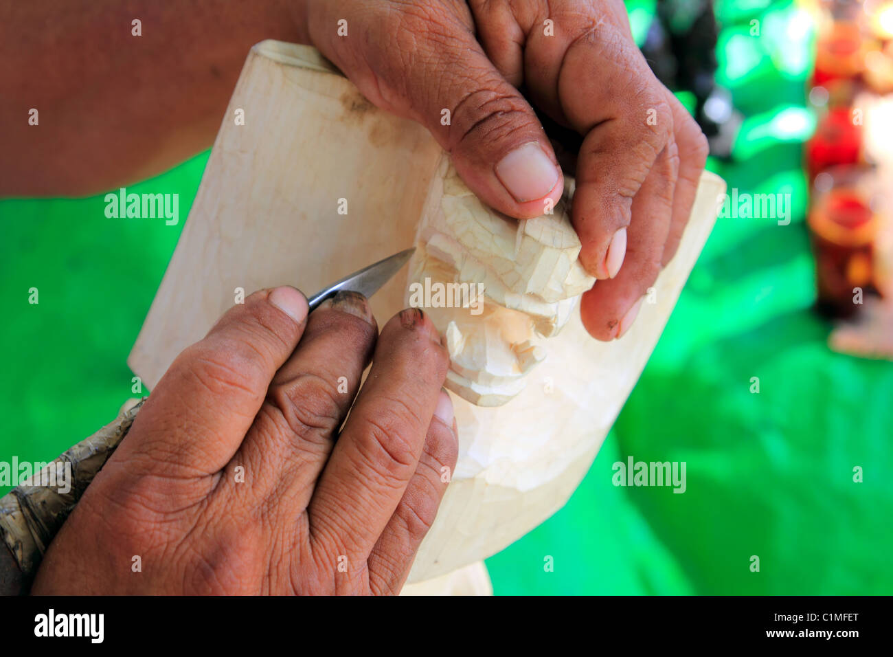 Jaguar mayan sculptor handcraft knife hands Chichen Itza Mexico - Stock Image