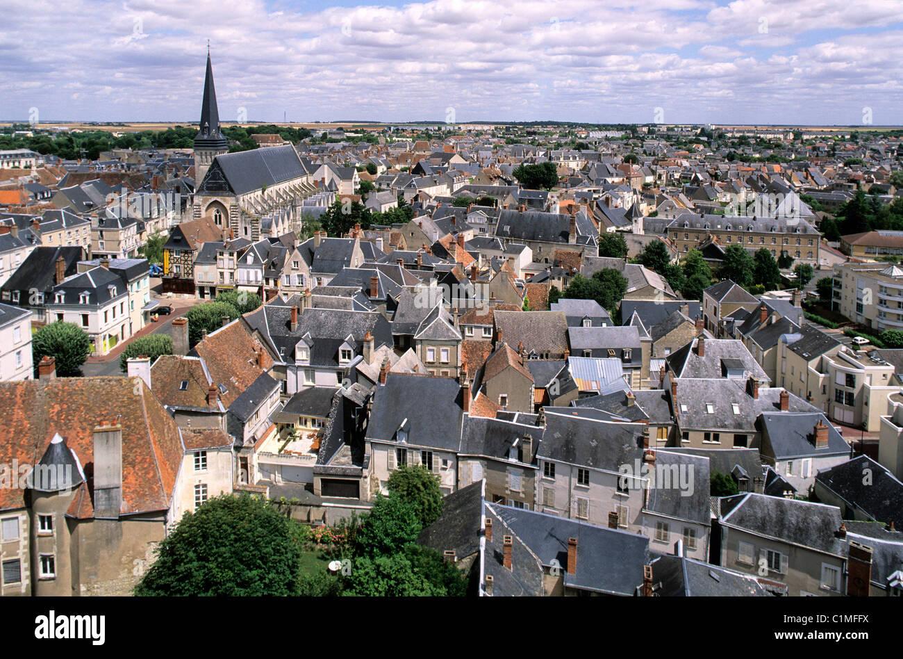 France, Indre, le Berry, Issoudun, vue depuis le haut de la Tour Blanche - Stock Image
