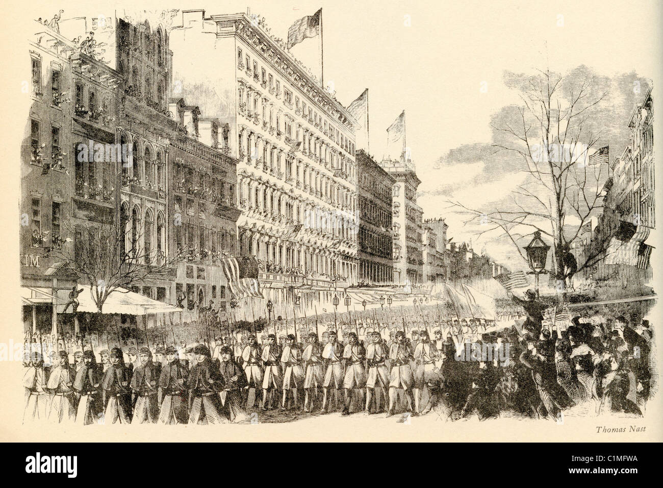 Old lithograph of National Guards in New York, 1865, American Civil War - Stock Image