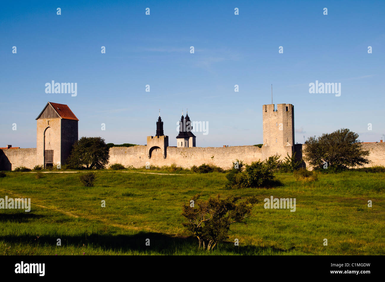 Visby wall's, one of the most beautiful medieval cities in Sweden - Stock Image
