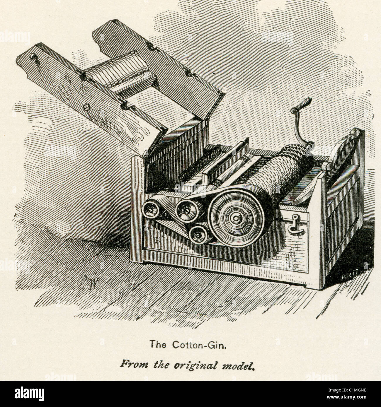 Old lithograph of cotton gin - Stock Image
