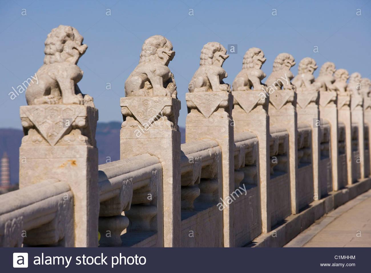 Summer Palace, Seventeen Arch Bridge, Beijing, China - Stock Image