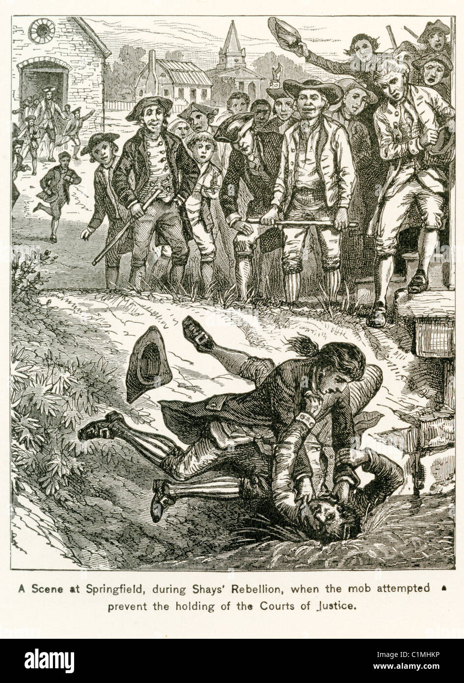 Old lithograph of Shays's Rebellion, Springfield, Massachusetts 1786 -1787