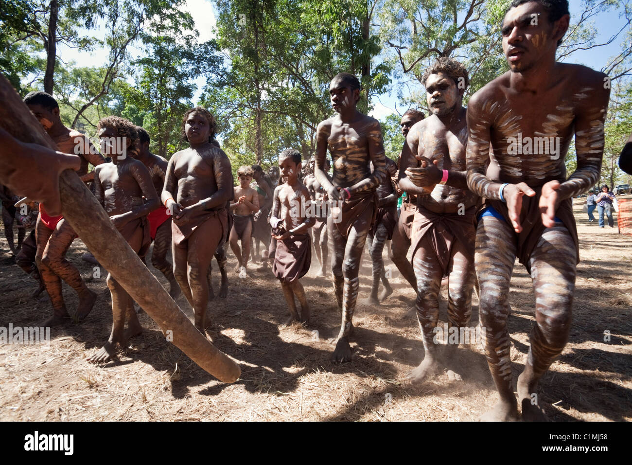 Indigenous dance troupe at the Laura Aboriginal Dance Festival. Laura, Queensland, Australia - Stock Image
