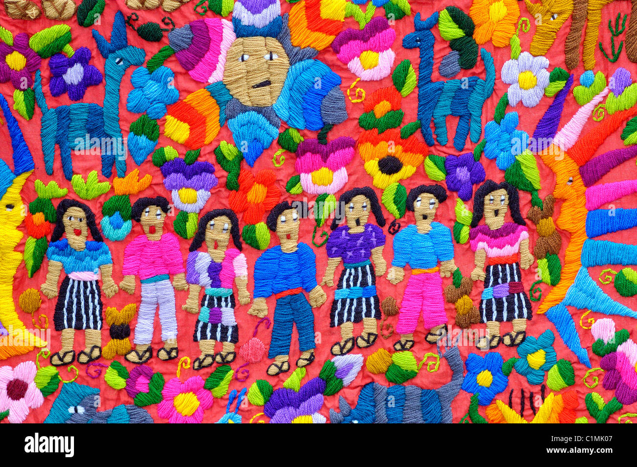 Guatemala Solola Department Tzutuhil embroidery traditional small city of Santiago Atitlan on Atitlan Lake Mostly - Stock Image