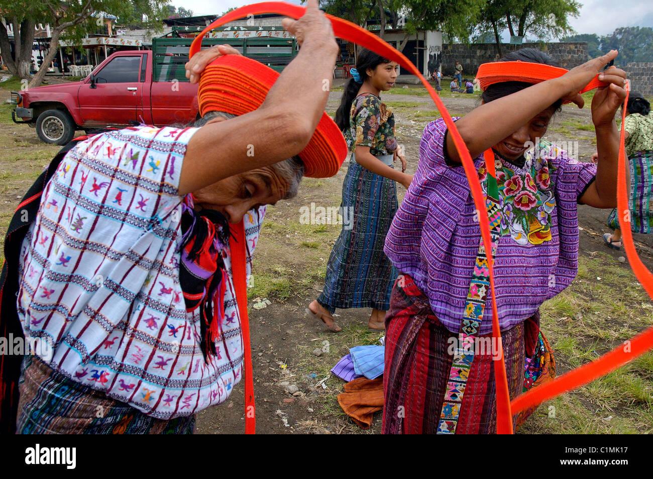 Guatemala Solola Department Santiago Atitlan on Atitlan Lake small city of mostly inhabited by Tzutuhil & Cackchiquels - Stock Image