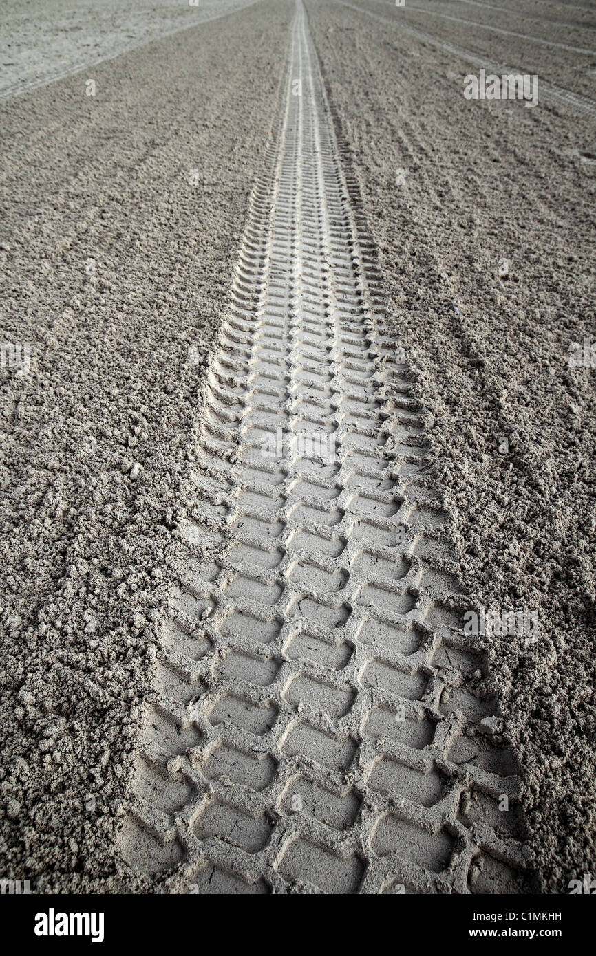 beach sand tyres footprint perspective to infinite Caribbean cleaning tractor - Stock Image