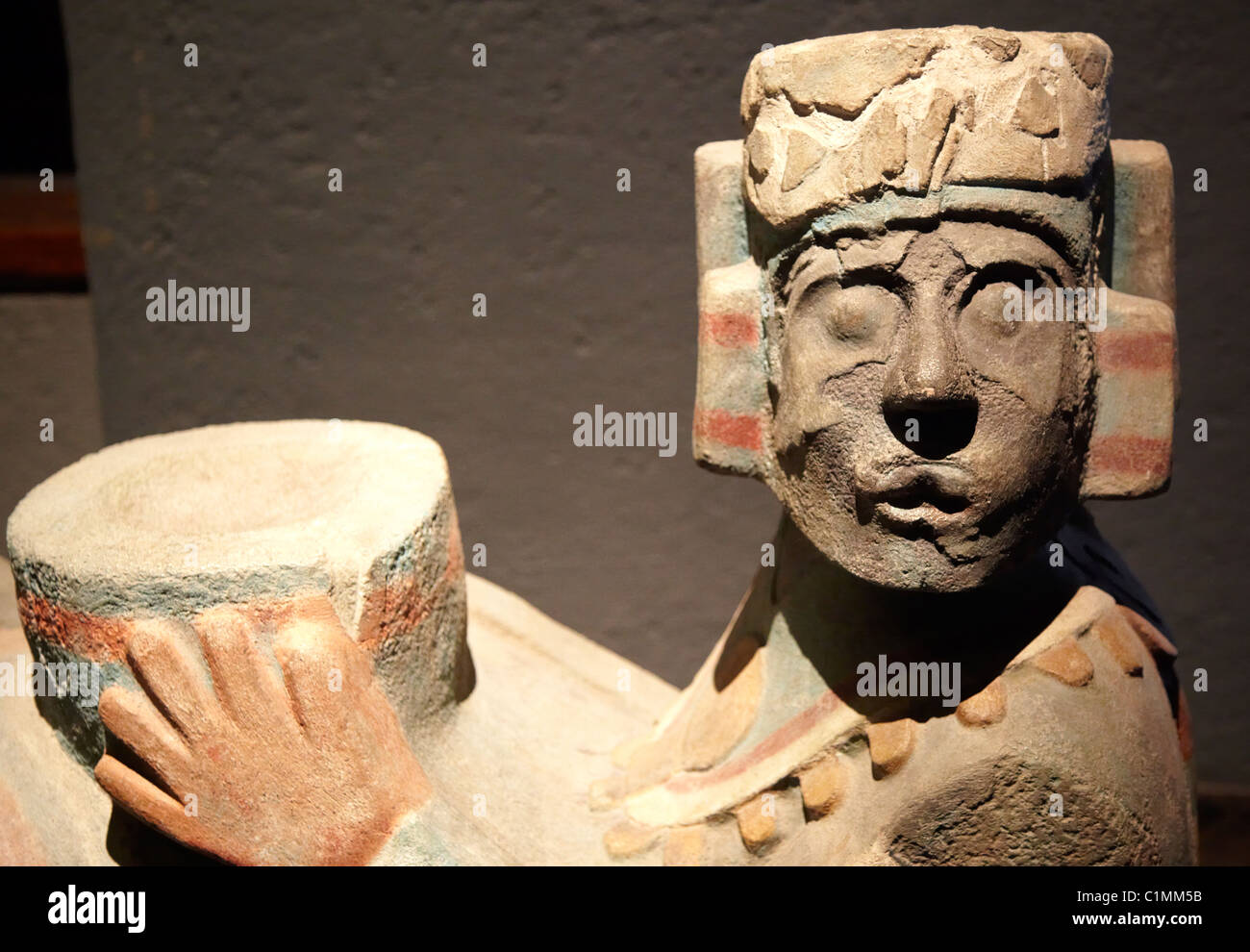 Polychrome Chac-Mool Figure at The Templo Mayor Museum - Stock Image