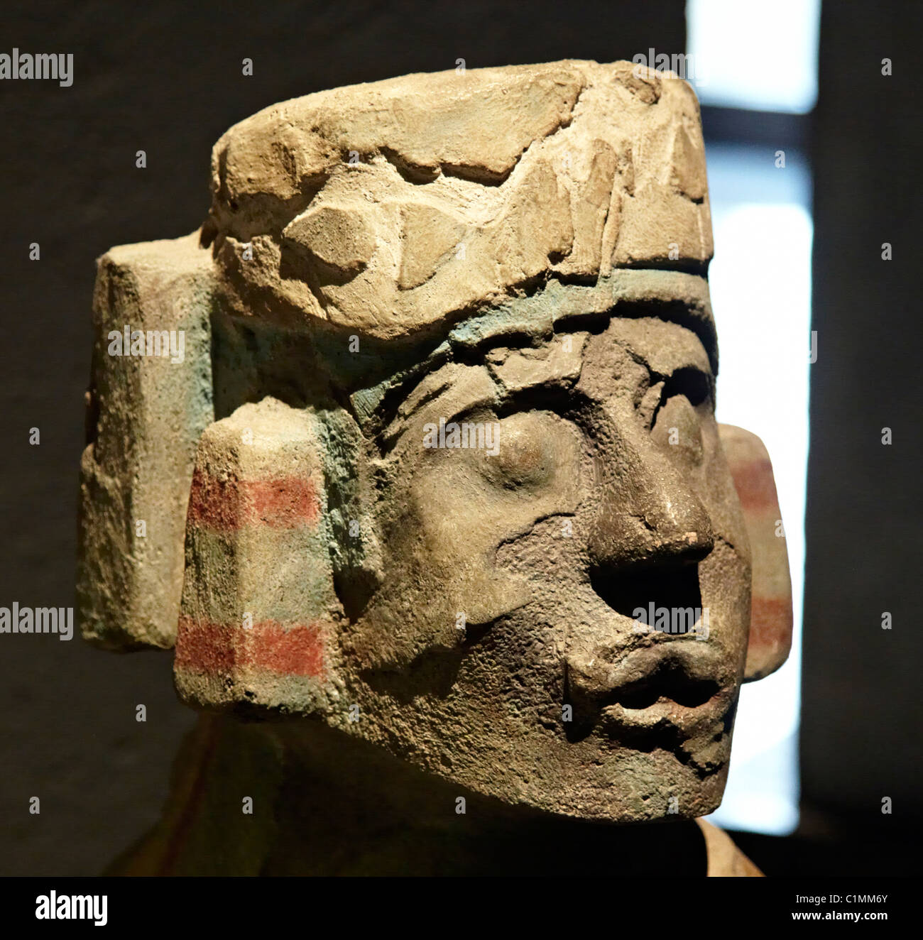 Polychrome Chac-Mool Figure at The Templo Mayor Museum Mexico City - Stock Image