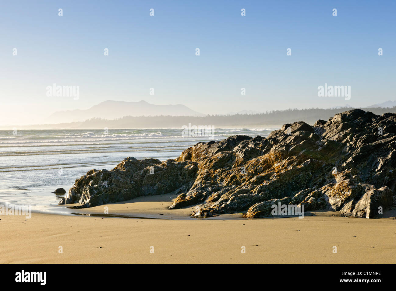 Rocky shore of Long Beach in Pacific Rim National park, Canada - Stock Image