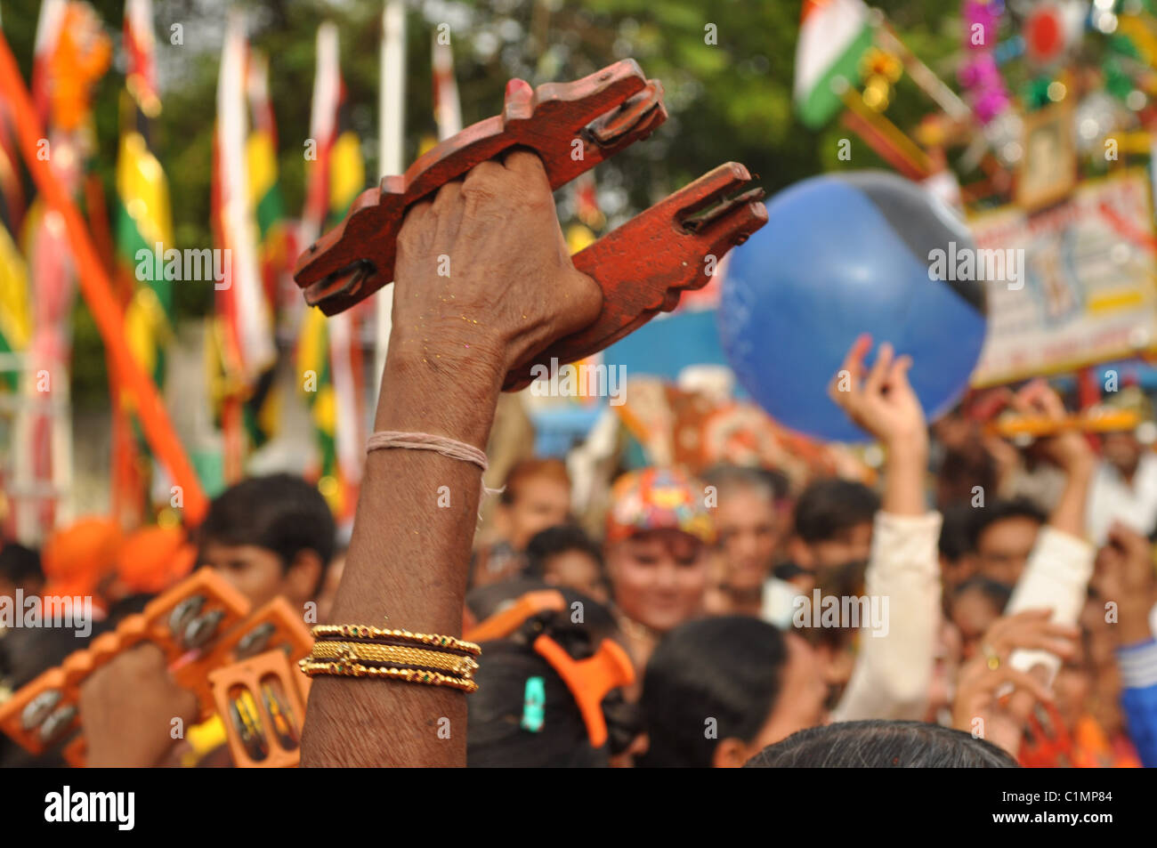 Musical display at the Rath Yatra ceremony held in Ahmedabad, Gujarat, India Stock Photo