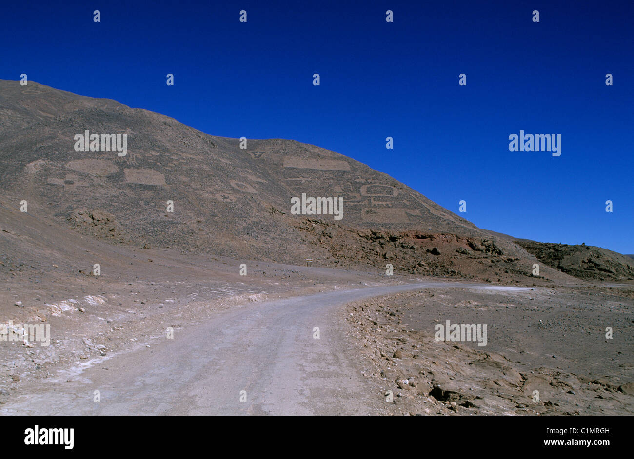 Chile, Region of Tarapaca, approximately Iquique, geoglyphes of los Pintados - Stock Image