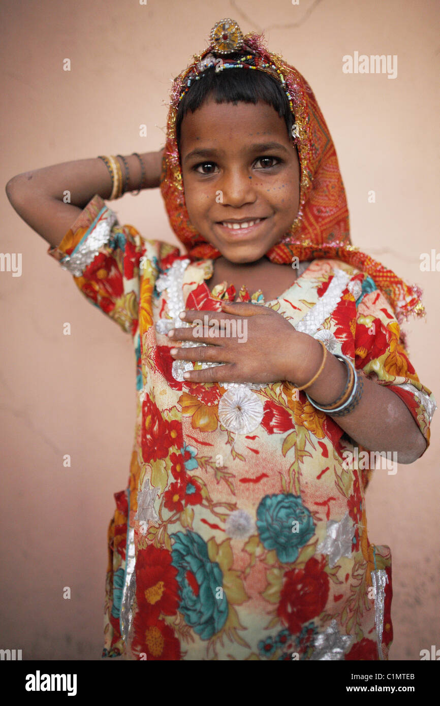 IND, India,20110310, Beautiful, cut, little girl with traditional costume - Stock Image