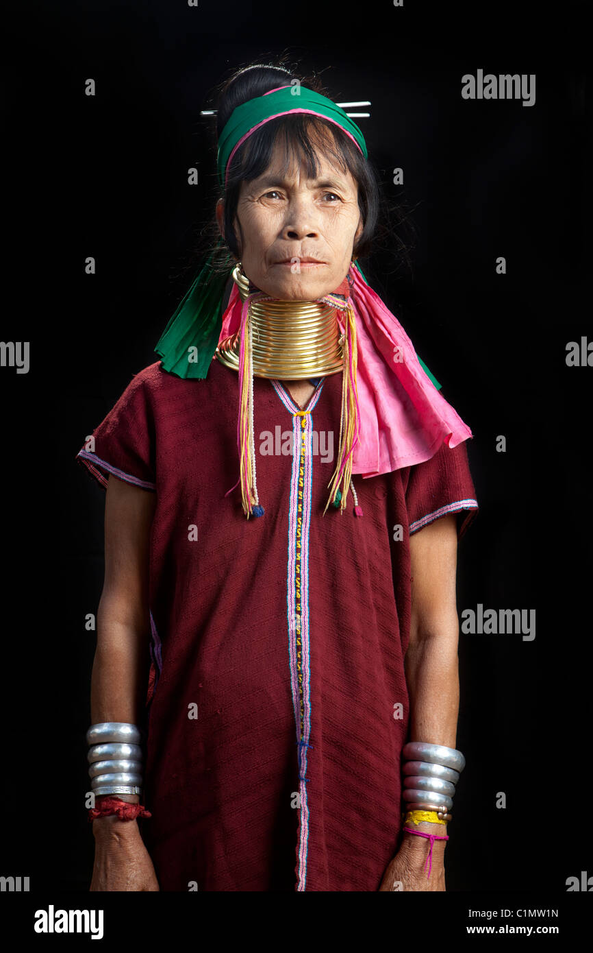 Karen Long Neck musician woman, Huay Pu Keng, Mae Hong Son, Thailand Stock Photo