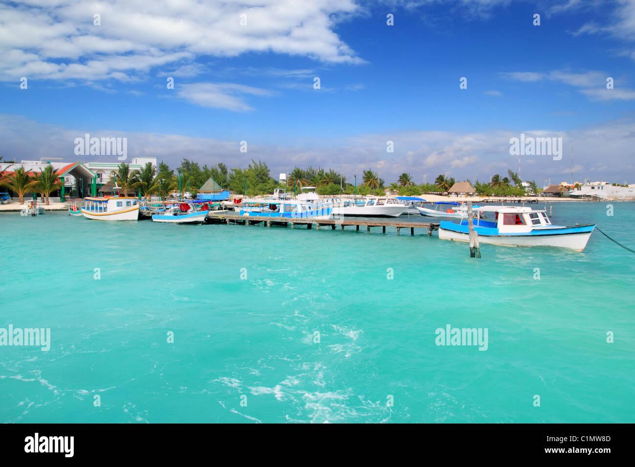 Puerto Juarez Cancun Quintana Roo tropical Caribbean boats - Stock Image
