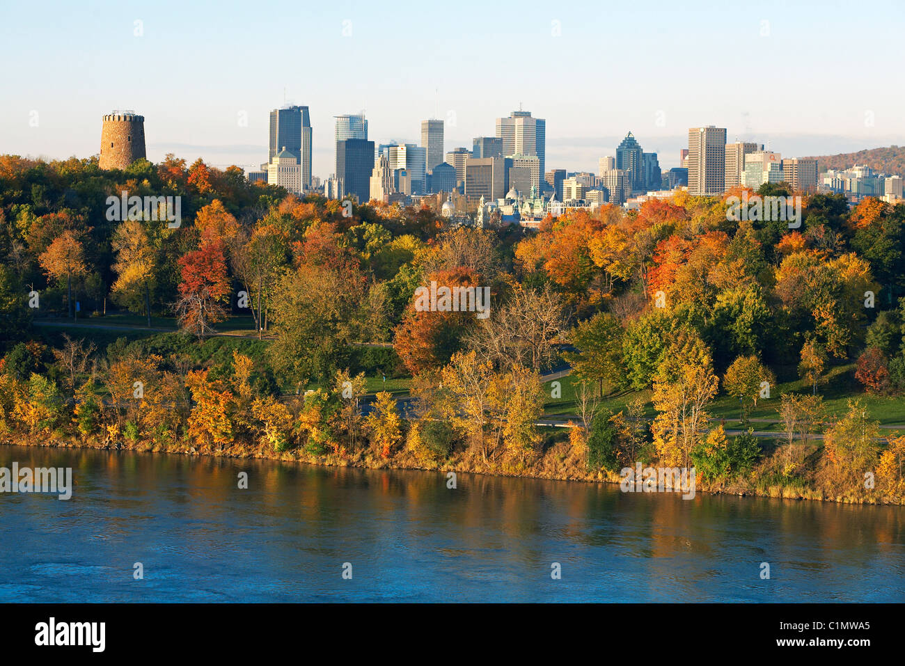 Canada, Quebec, Montreal, the city in autumn from the Jean Drapeau Park and the river banks of the Saint-Lawrence Stock Photo