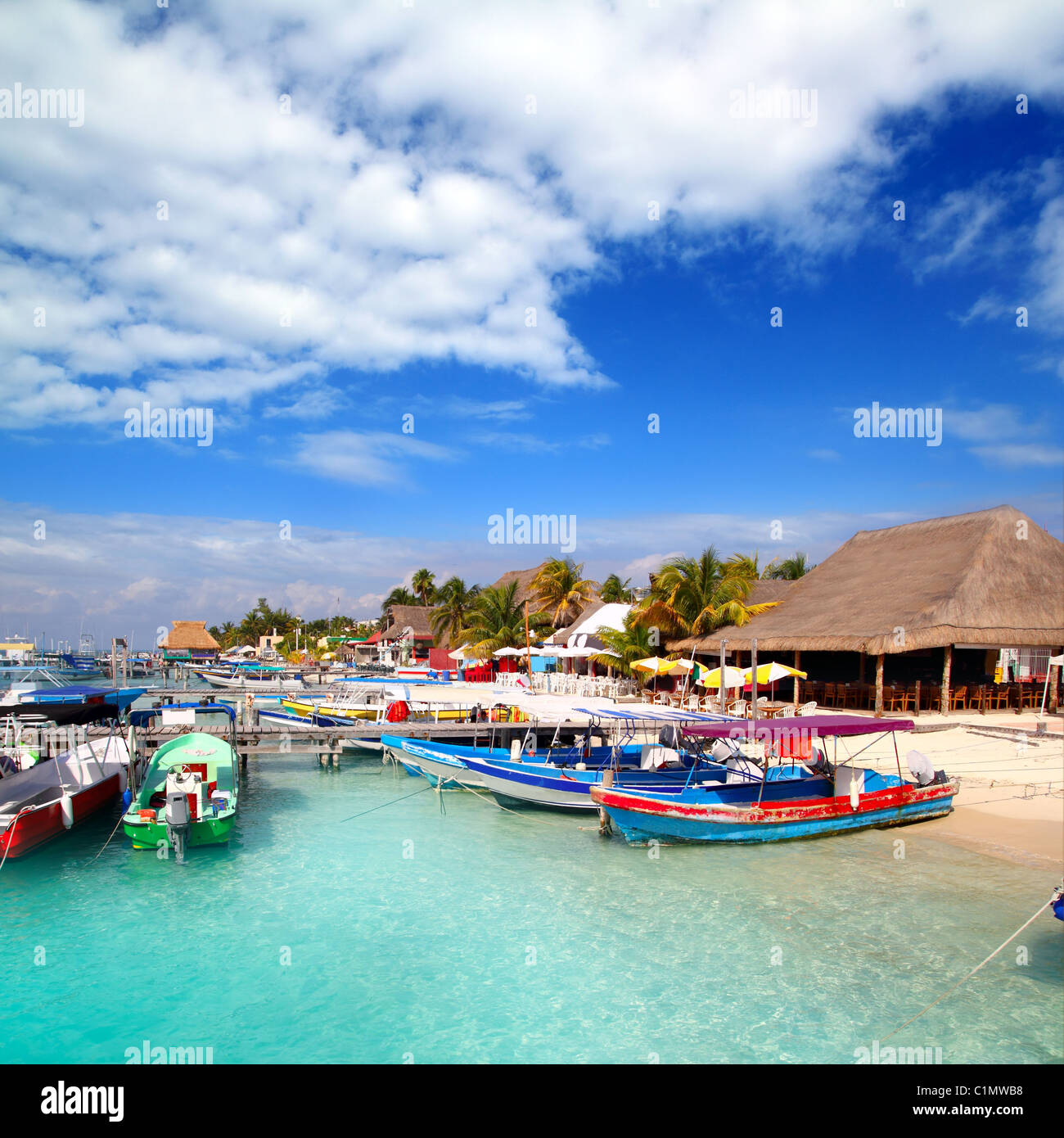 Isla Mujeres island dock port pier colorful Mexico Cancun - Stock Image