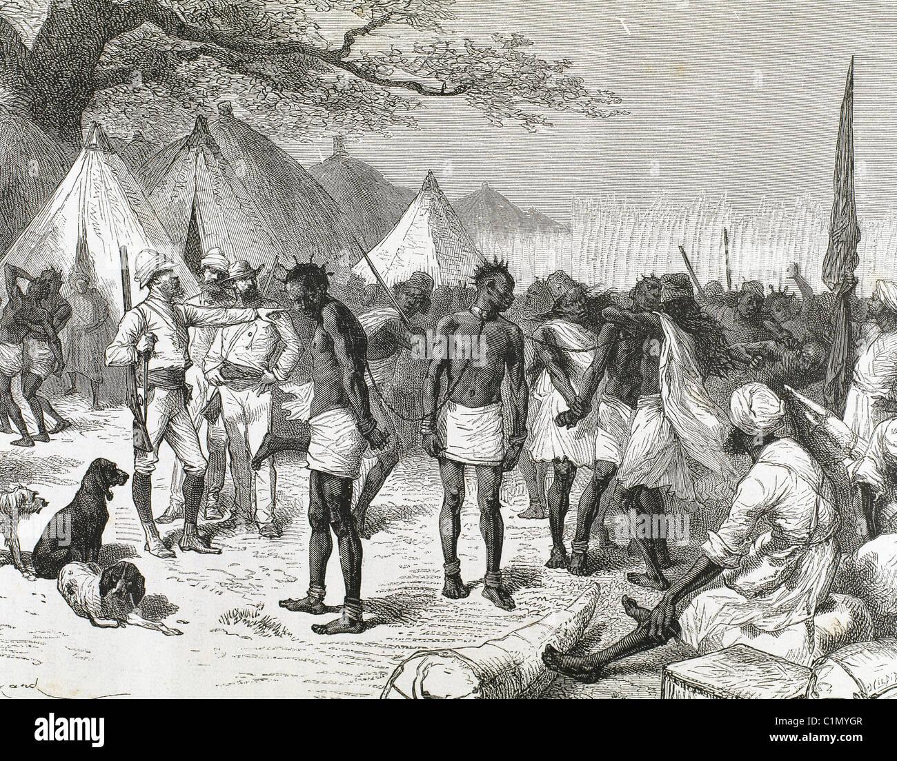 Slave market in Zanzibar. Engraving by Hildebrand (1882). - Stock Image