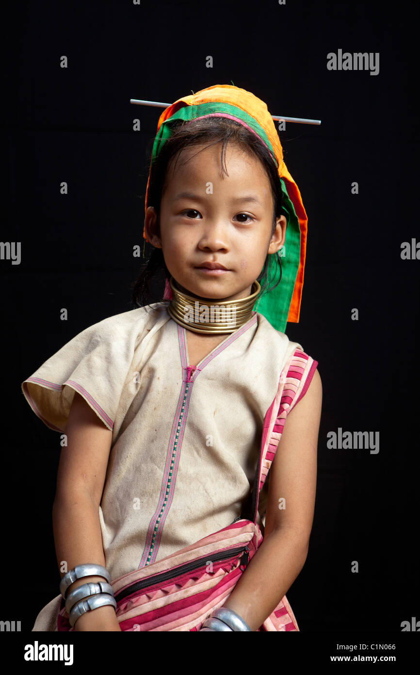 Karen hill tribes refugee village little girl, Huay Pu Keng, Mae Hong Son, Thailand - Stock Image