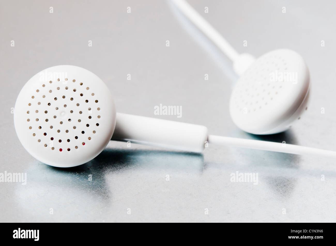 earphones close up - Stock Image
